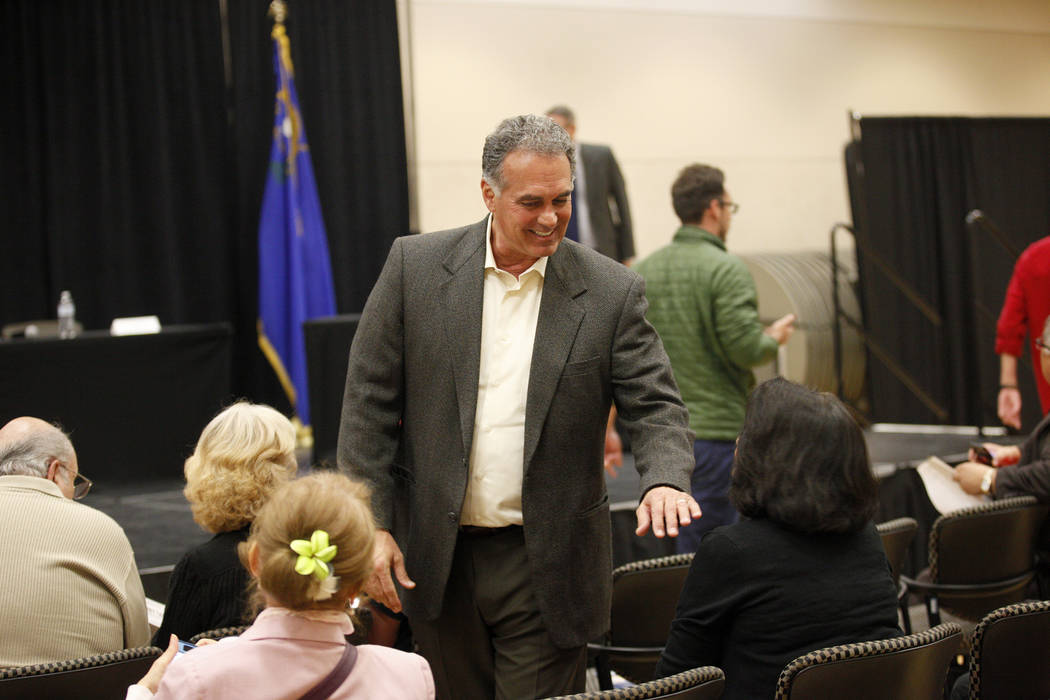 Danny Tarkanian, a Republican candidate for the 3rd Congressional District, greets attendees at Education Matters, a forum to discuss K-12 issues and school choice, at the East Las Vegas Community ...