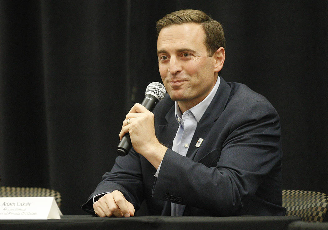Adam Laxalt, Republican candidate for governor, speaks at Education Matters, a forum to discuss K-12 issues and school choice, at the East Las Vegas Community Center in Las Vegas, Tuesday, Oct. 16 ...