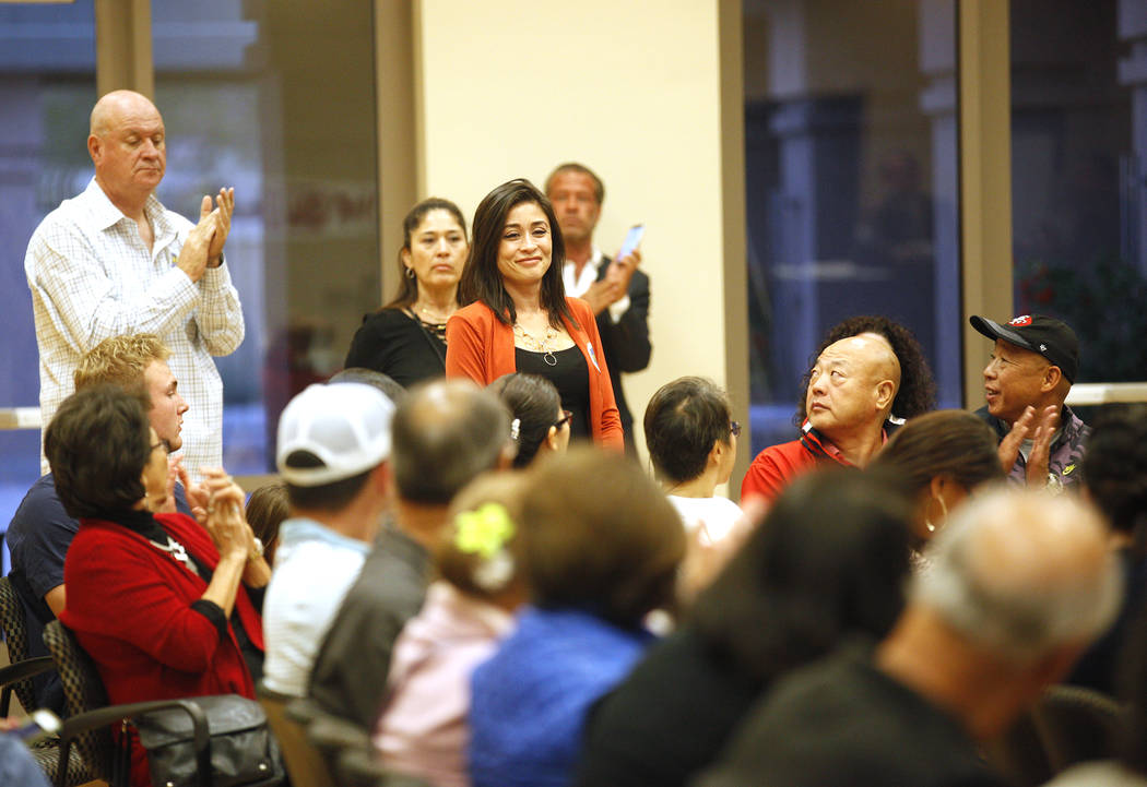Tiffany Jones, Republican candidate for Senate District 9, stands to applause at Education Matters, a forum to discuss K-12 issues and school choice, at the East Las Vegas Community Center in Las ...