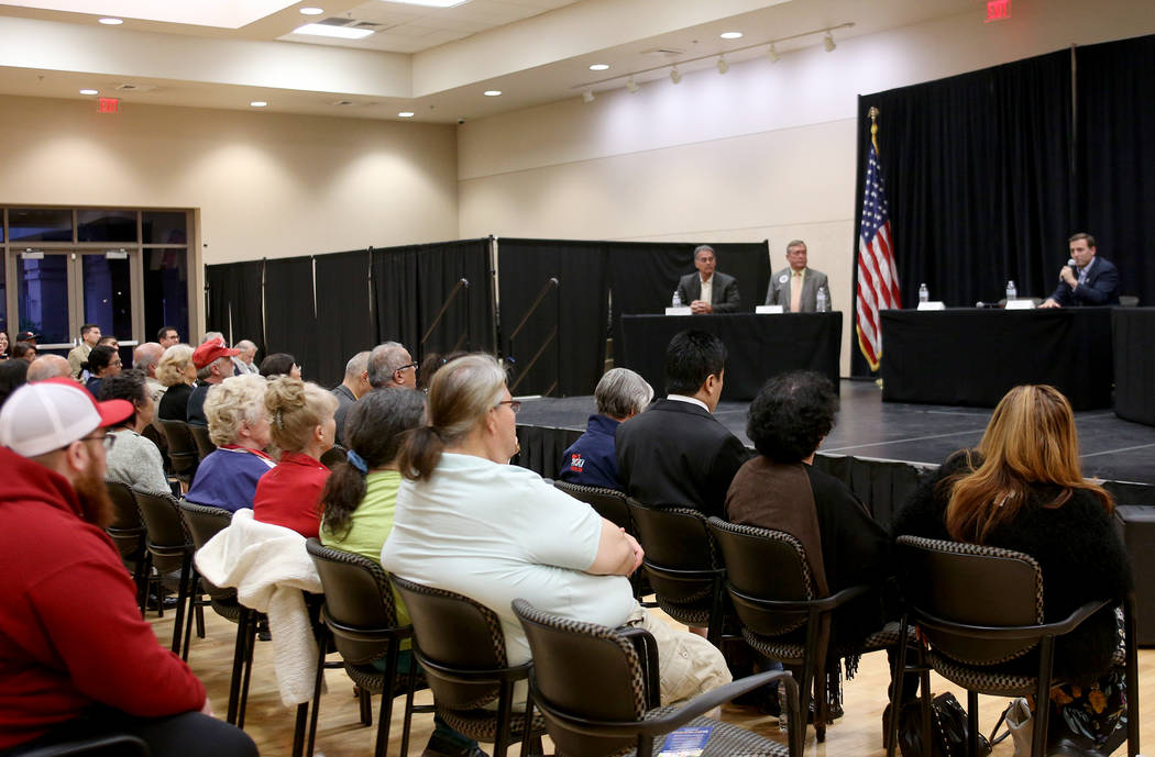 Republican candidates for office Danny Tarkanian, from left, Cresent Hardy, and Adam Laxalt speak at Education Matters, a forum to discuss K-12 issues and school choice, at the East Las Vegas Comm ...