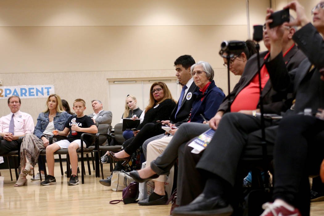 Attendees listen to Republican candidates speak at Education Matters, a forum to discuss K-12 issues and school choice, at the East Las Vegas Community Center in Las Vegas, Tuesday, Oct. 16, 2018. ...