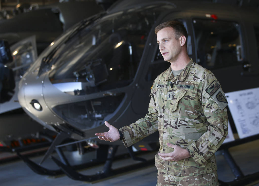 Lt. Jacob Pestana talks about Nevada Army Guard's six UH-72 Lakota helicopters at the support facility by the North Las Vegas Airport in Las Vegas on Friday, Oct. 19, 2018. The six Lakota helicopt ...