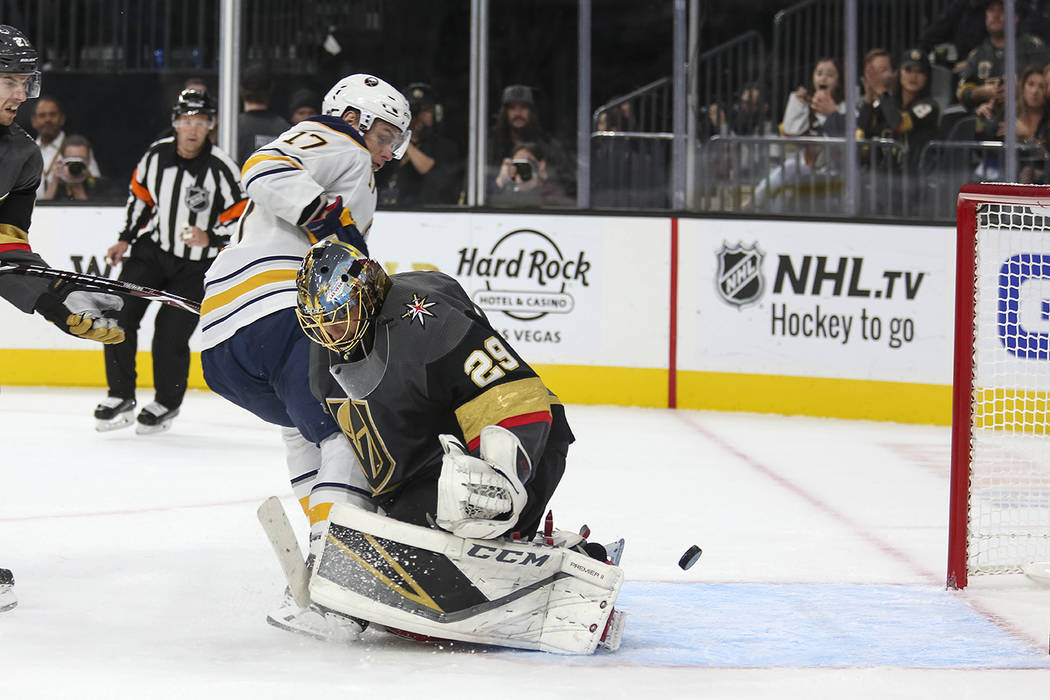 A shot by Buffalo Sabres center Vladimir Sobotka (17) gets past Vegas Golden Knights goaltender Marc-Andre Fleury (29) for a goal during the third period of an NHL hockey game at T-Mobile Arena in ...