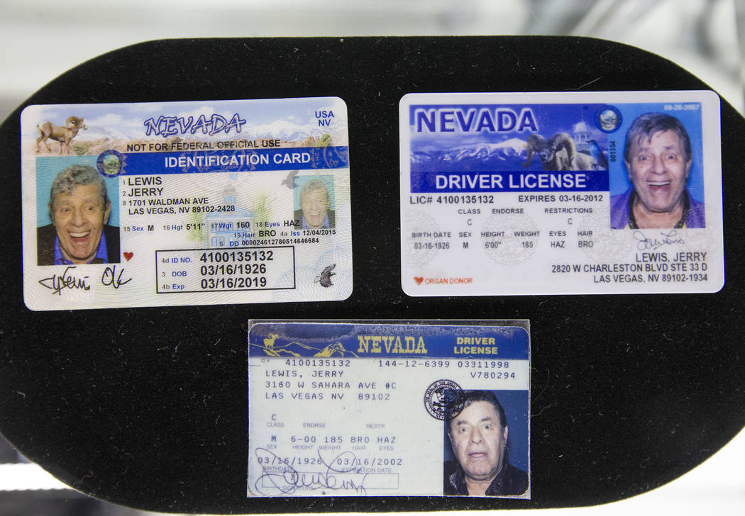 A trio of driver licenses issued to comedian Jerry Lewis, the first expiring March 16, 2002, the second expiring March 16, 2012, and the third expiring March 16, 2019, on display during the Julien ...