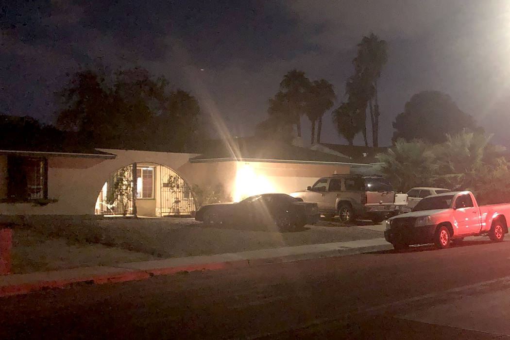 Las Vegas police investigate a homicide on the 3000 block of Brighthill Avenue, near Flamingo and Sandhill roads on Tuesday, Oct. 16, 2018. (Katelyn Newberg/Las Vegas Review-Journal)
