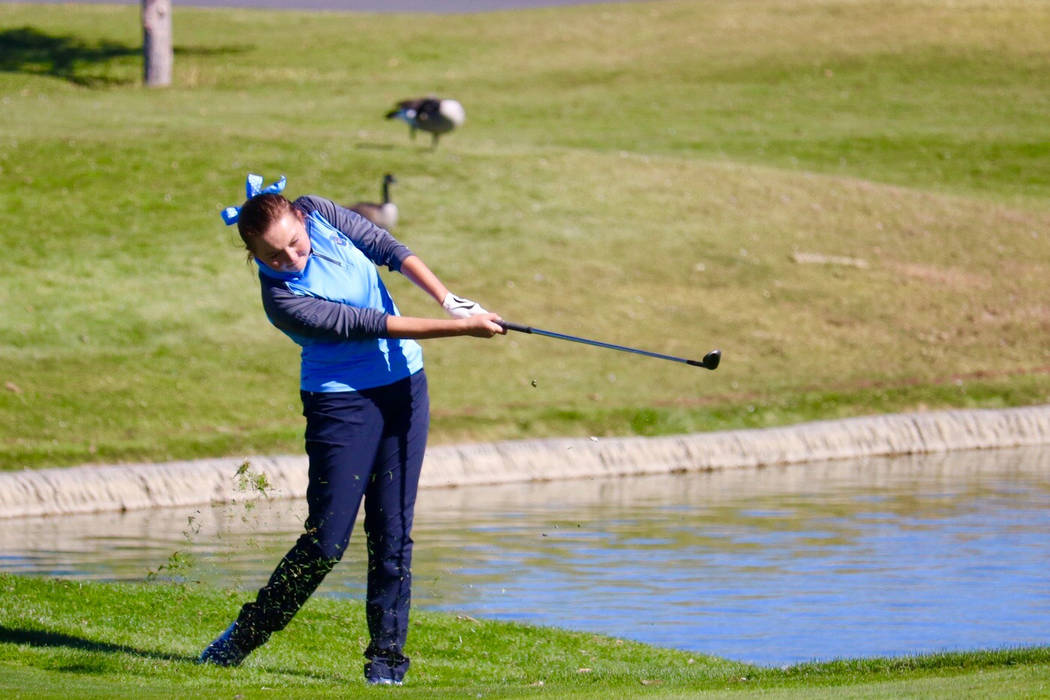 Centennial's Hailey Stevenson takes a shot during the Class 4A state golf tournament at Dayton Valley Golf Course on Oct. 16, 2018 in Dayton, Nev. Courtesy: Centennial golf.