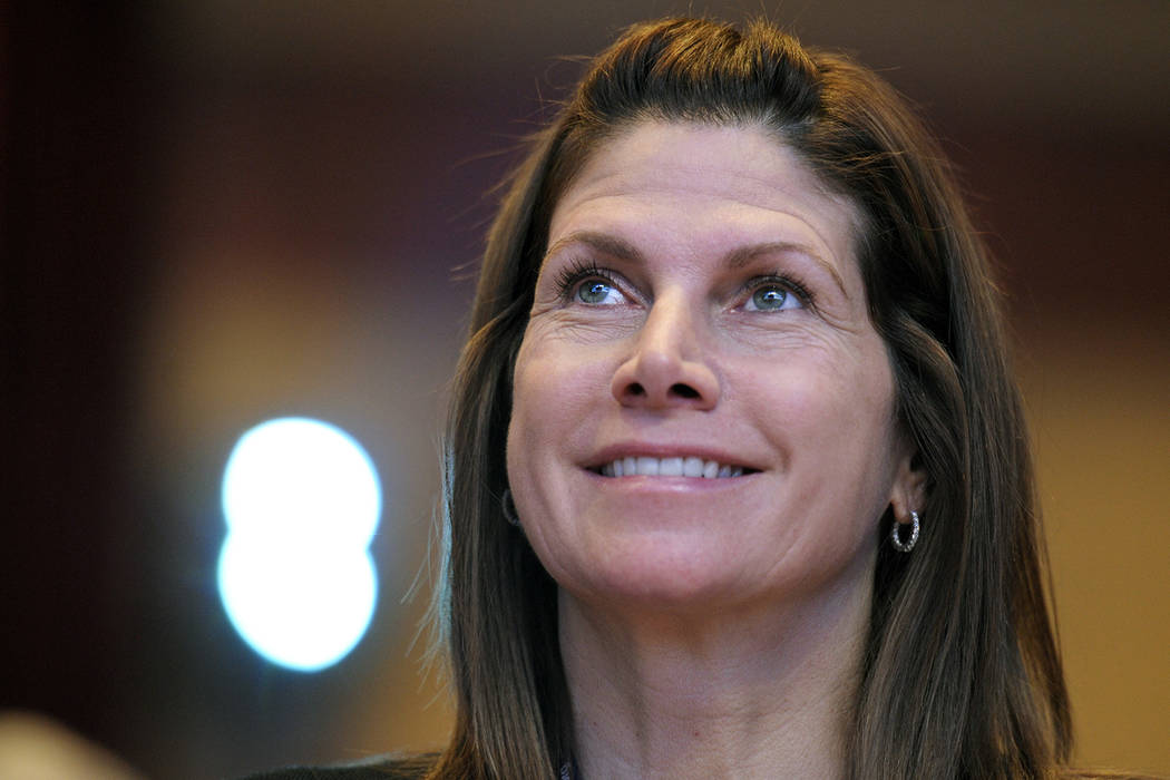 In this Feb. 12, 2011, file photo, then-Rep. Mary Bono, R-Calif., listens at the Conservative Political Action Conference (CPAC) in Washington. Former California Congresswoman Bono announced her r ...