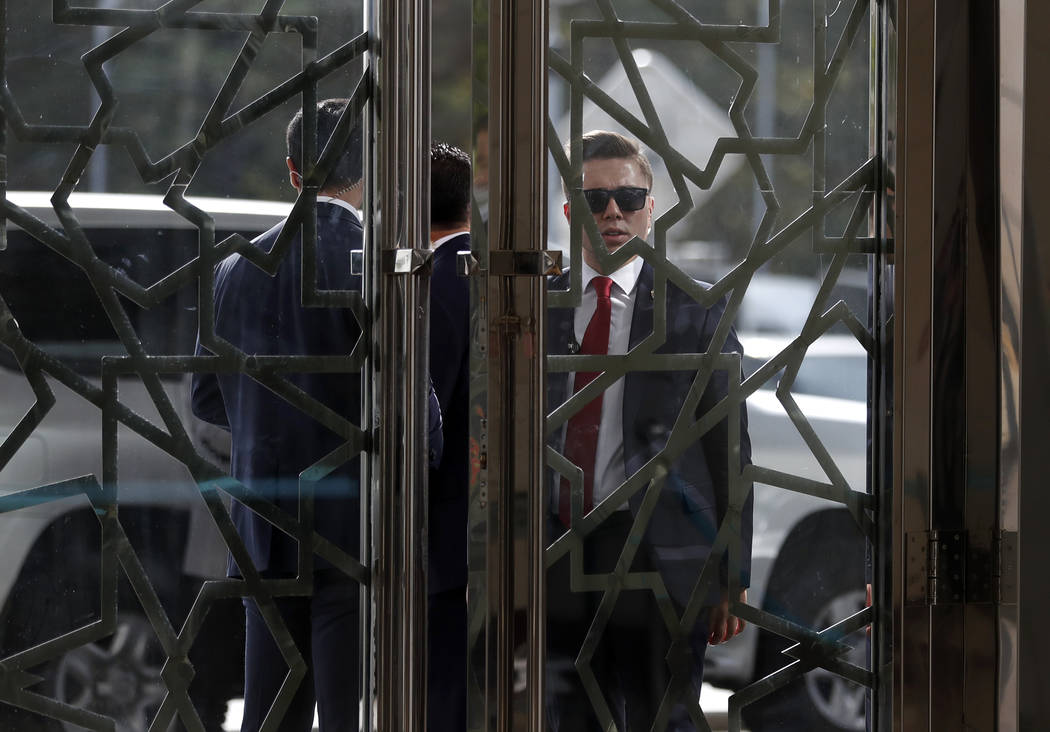 Security officials secure an entrance as U.S. Secretary of State Mike Pompeo meets with Turkish Foreign Minister Mevlut Cavusoglu in Ankara, Turkey, Wednesday Oct. 17, 2018. On Wednesday a pro-go ...
