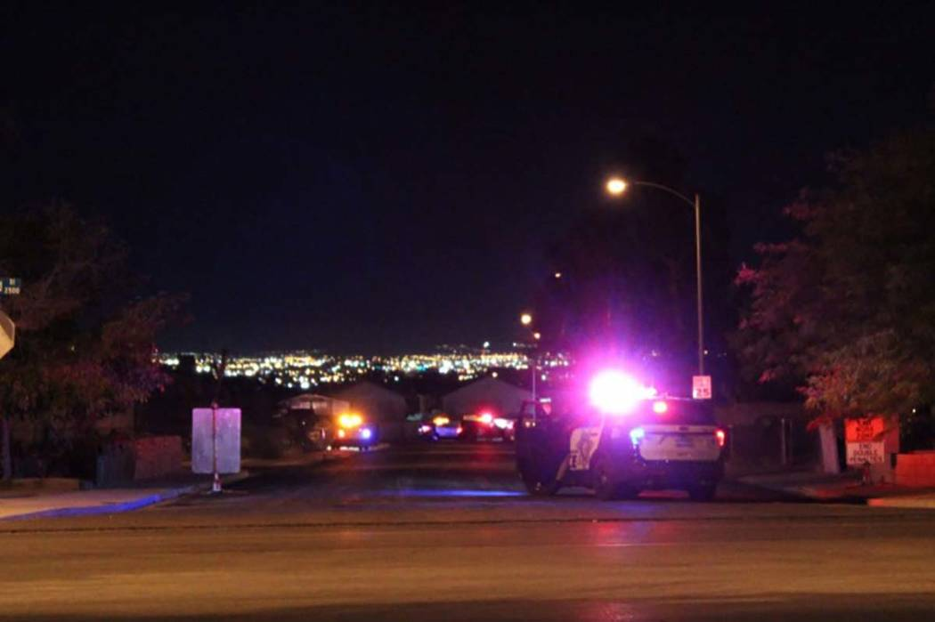 Las Vegas police blocked off an east valley neighborhood as they looked for the person who led them on a high-speed chase throughout across the valley Tuesday, Oct. 17, 2018. (Max Michor/Las Vegas ...