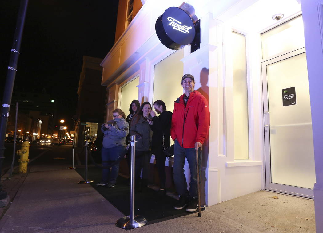 Ian Power is first in line at the Tweed store on Water Street in St. John's, Newfoundland and Labrador, Tuesday, Oct. 16, 2018. He said he hopes to make history and buy the first legal cannabis fo ...