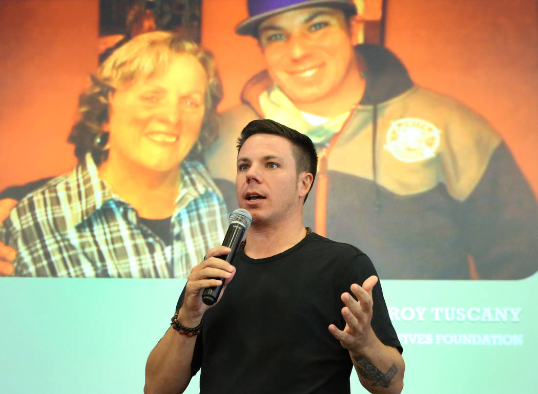 High Fives Foundation Founder and a retired pro skier, Roy Tuscany, speaks at the Nevada Health Link forum on Wednesday, Oct. 17, 2018, in Las Vegas. The forum is for health insurance agents and b ...