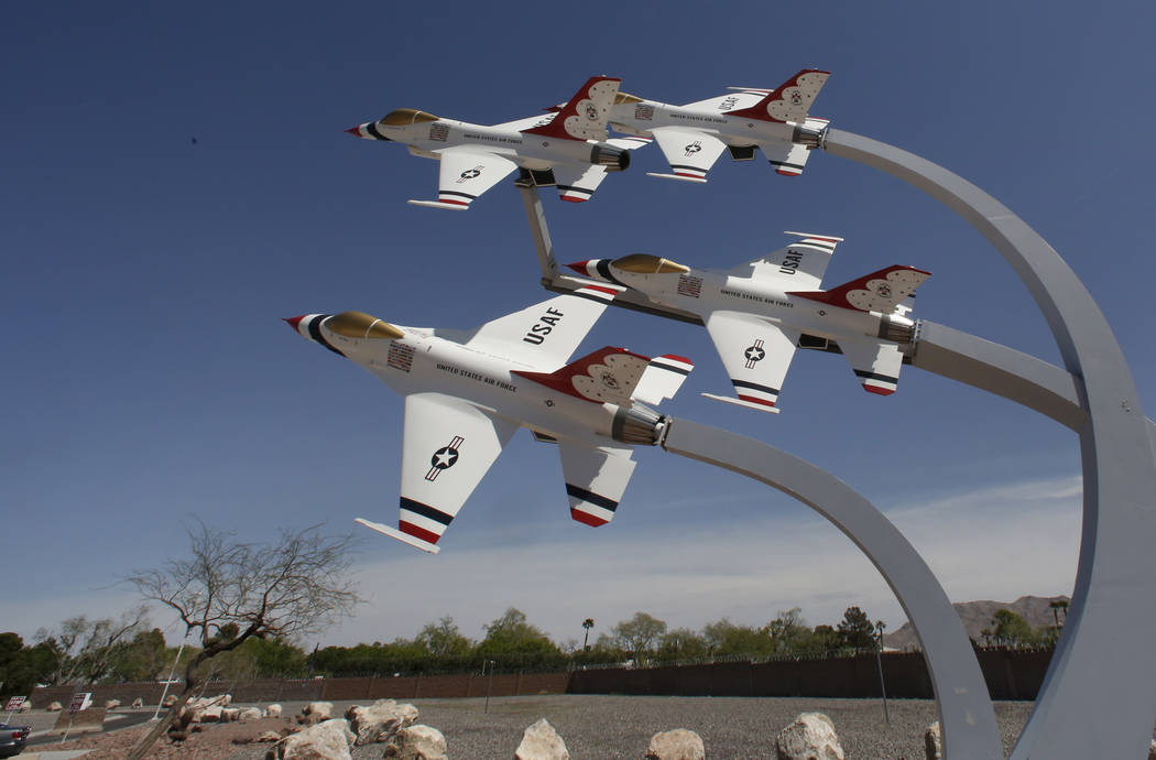 A display of U.S. Air Force Thunderbird jets near the main entrance checkpoint at Nellis Air Force Base in Las Vegas on Wednesday, April 4, 2018. (Bizuayehu Tesfaye/Las Vegas Review-Journal @bizut ...