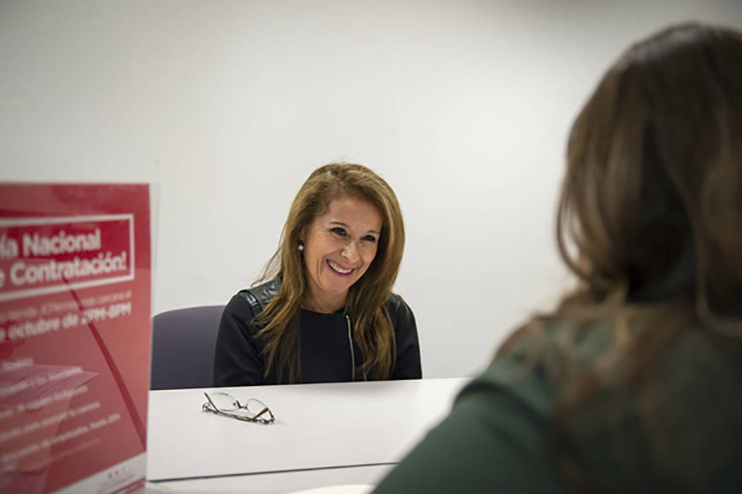 Magreth Jurgschat answers questions while being interviewed by Michele Collins for a seasonal position at JC Penney in Henderson, Tuesday, Oct. 16, 2018. Caroline Brehman/Las Vegas Review-Journal ...