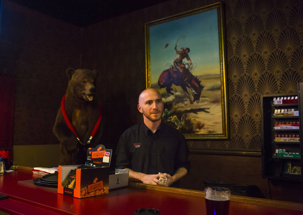Ramsey Cline, owner and operator of the Mizpah Club, stands by the bar at his casino in Tonopah on Thursday, Oct. 11, 2018. Chase Stevens Las Vegas Review-Journal @csstevensphoto