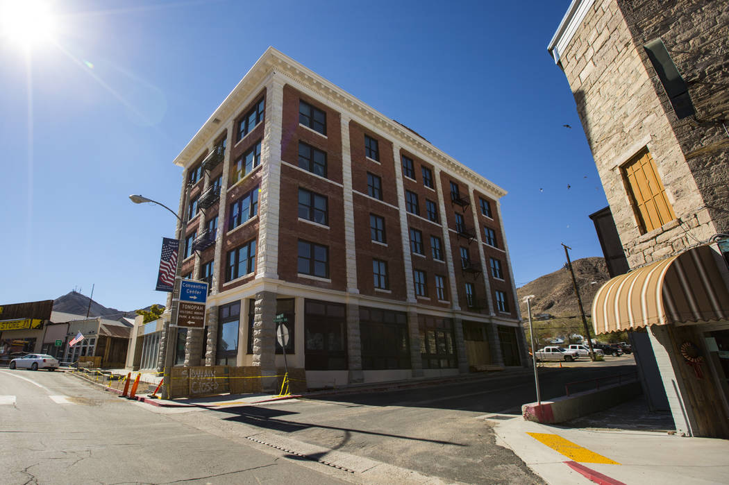 The Belvada under renovation in Tonopah on Friday, Oct. 12, 2018. The Belvada originally opened as the State Bank and Trust Company Building in 1906. Chase Stevens Las Vegas Review-Journal @csstev ...