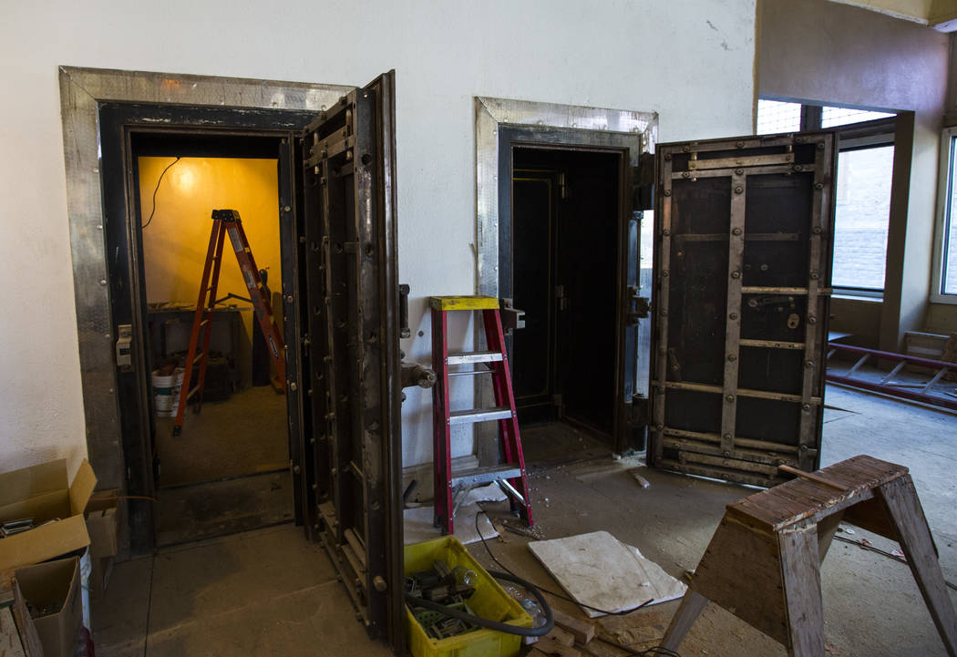 Old bank vaults in the main lobby as renovations go on at the Belvada in Tonopah on Friday, Oct. 12, 2018. The Belvada originally opened as the State Bank and Trust Company Building in 1906. Chase ...