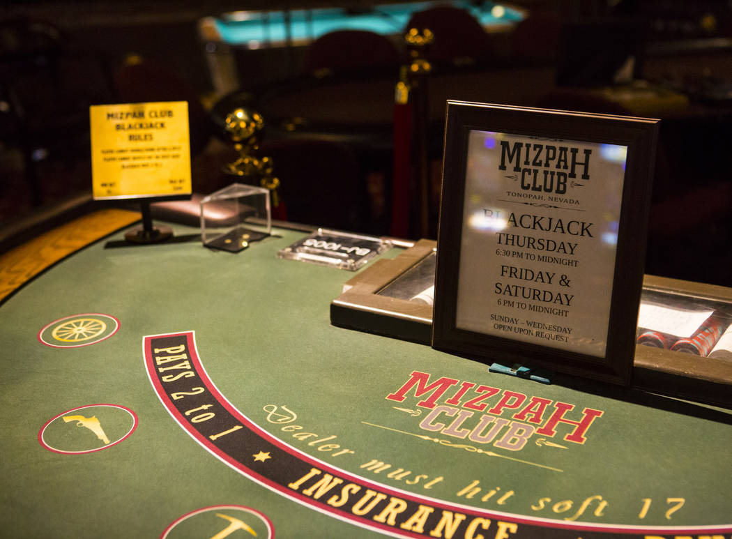 A blackjack table at the Mizpah Club in Tonopah on Thursday, Oct. 11, 2018. Chase Stevens Las Vegas Review-Journal @csstevensphoto
