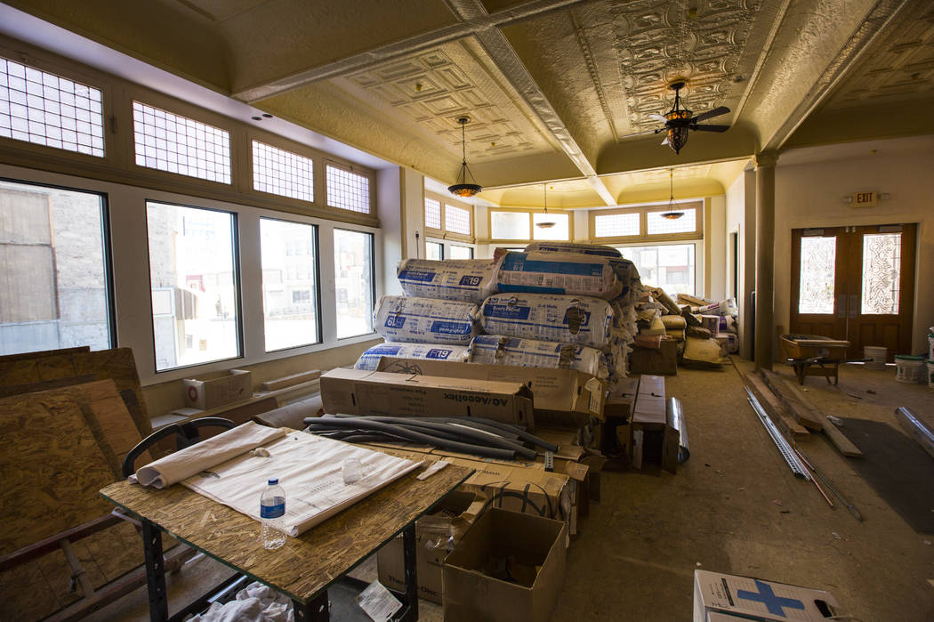 Renovations go on in the lobby at the Belvada in Tonopah on Friday, Oct. 12, 2018. The Belvada originally opened as the State Bank and Trust Company Building in 1906. Chase Stevens Las Vegas Revie ...
