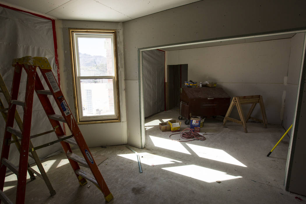 A room under renovation at the Belvada in Tonopah on Friday, Oct. 12, 2018. The Belvada originally opened as the State Bank and Trust Company Building in 1906. Chase Stevens Las Vegas Review-Journ ...