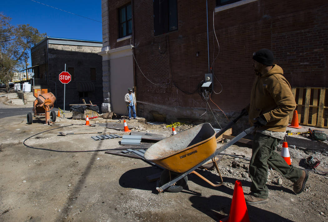 Construction workers make progress as renovations go on at the Belvada in Tonopah on Friday, Oct. 12, 2018. The Belvada originally opened as the State Bank and Trust Company Building in 1906. Chas ...