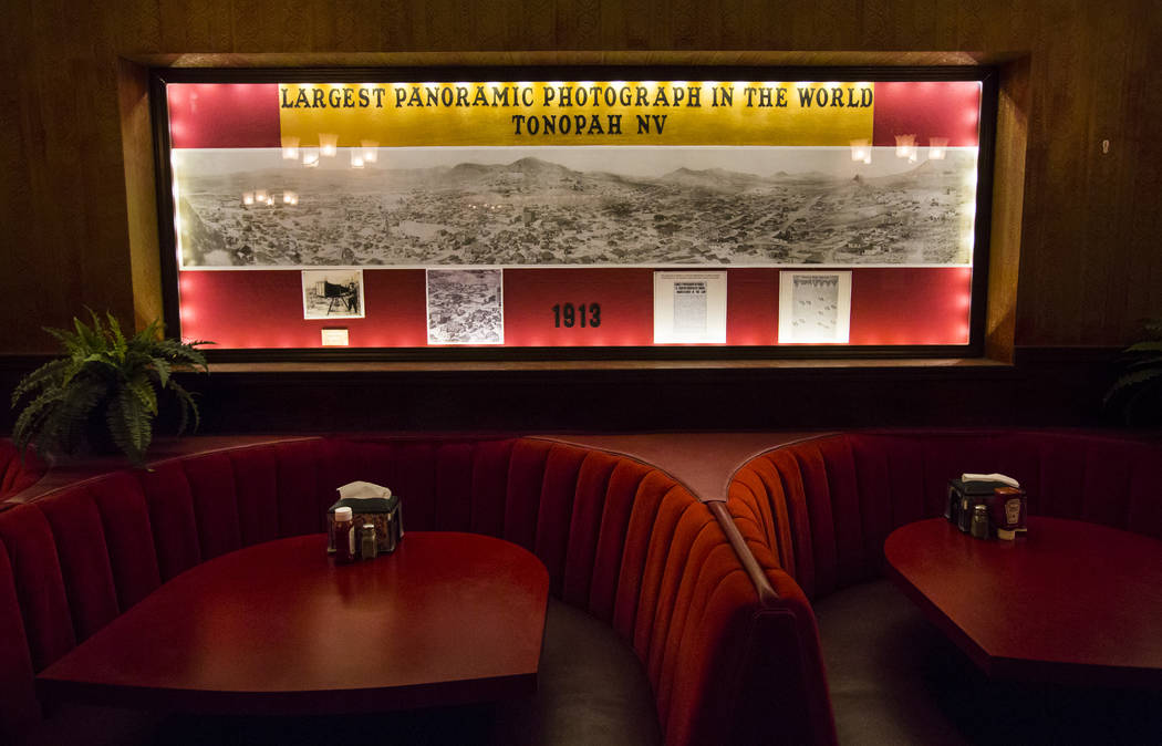 A large panoramic photograph is displayed at the Key Cafe at the Mizpah Club in Tonopah on Friday, Oct. 12, 2018. Chase Stevens Las Vegas Review-Journal @csstevensphoto