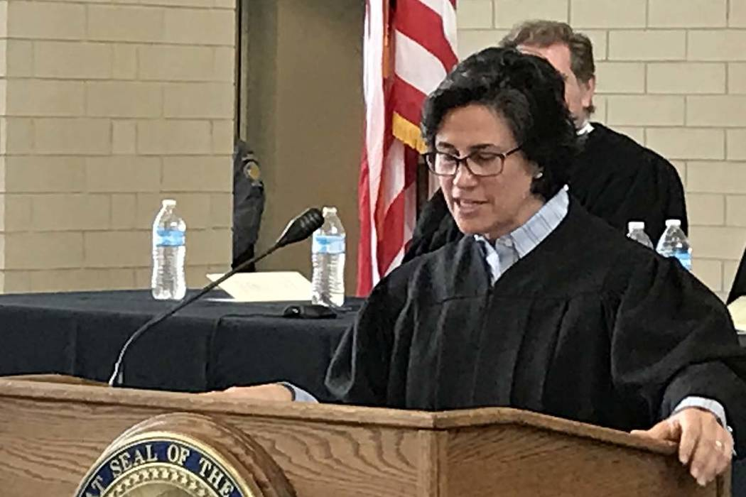 Nevada Supreme Court Justice Lidia Stiglich addresses family, friends and colleagues at her investiture ceremony on March 9, 2017, in Carson City. She has been appointed to a new Committee to Stud ...
