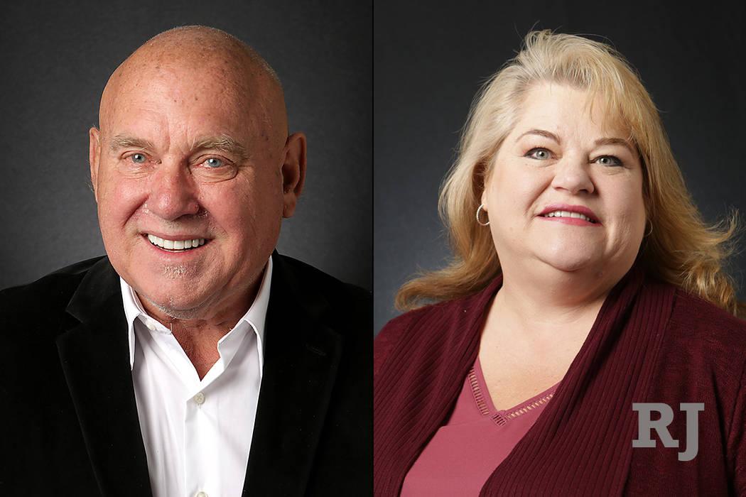 Dennis Hof, left, and Lesia Romanov, right. (Michael Quine/Las Vegas Review-Journal) @Vegas88s