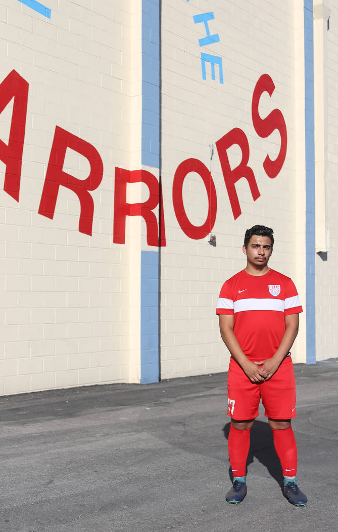 Juan Estrada, 17, a forward for the Western Warriors, at Western High School in Las Vegas, Wednesday, Oct. 17, 2018. Estrada has scored the most goals for a player in Southern Nevada during his se ...