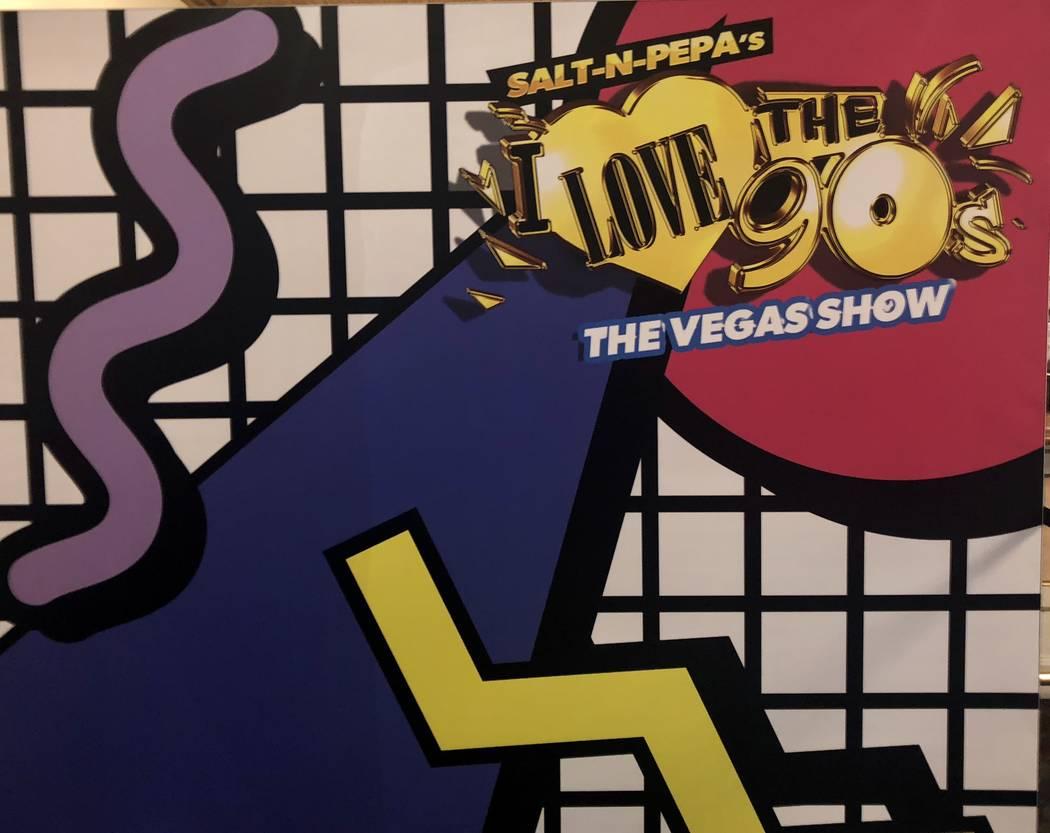 """The """"I Love the 90s -- The Vegas Show"""" sign outside Paris Theater. (John Katsilometes/Las Vegas Review-Journal) @JohnnyKats"""
