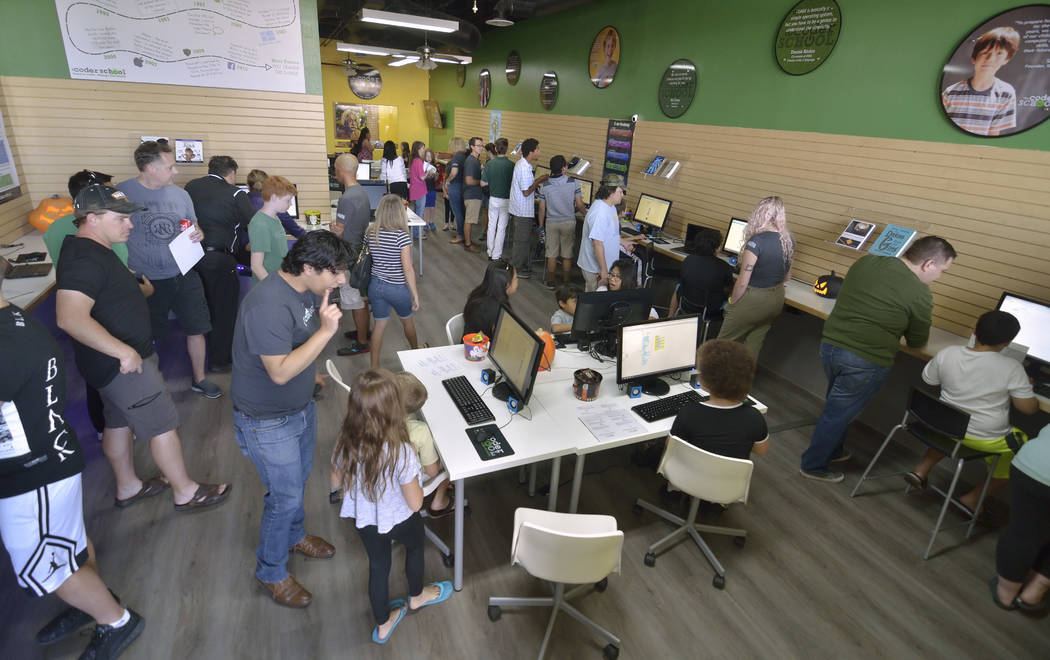 The interior of theCoderSchool is shown during a grand opening at 9330 W. Sahara Ave. in Las Vegas on Saturday, Oct. 20, 2018. Bill Hughes/Las Vegas Review-Journal