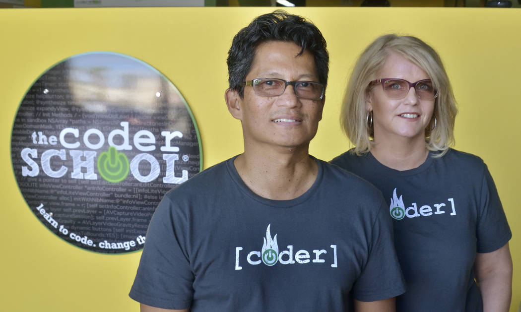 Franchisees Noel and Danielle Mateo are shown during the grand opening of theCoderSchool at 9330 W. Sahara Ave. in Las Vegas on Saturday, Oct. 20, 2018. Bill Hughes/Las Vegas Review-Journal