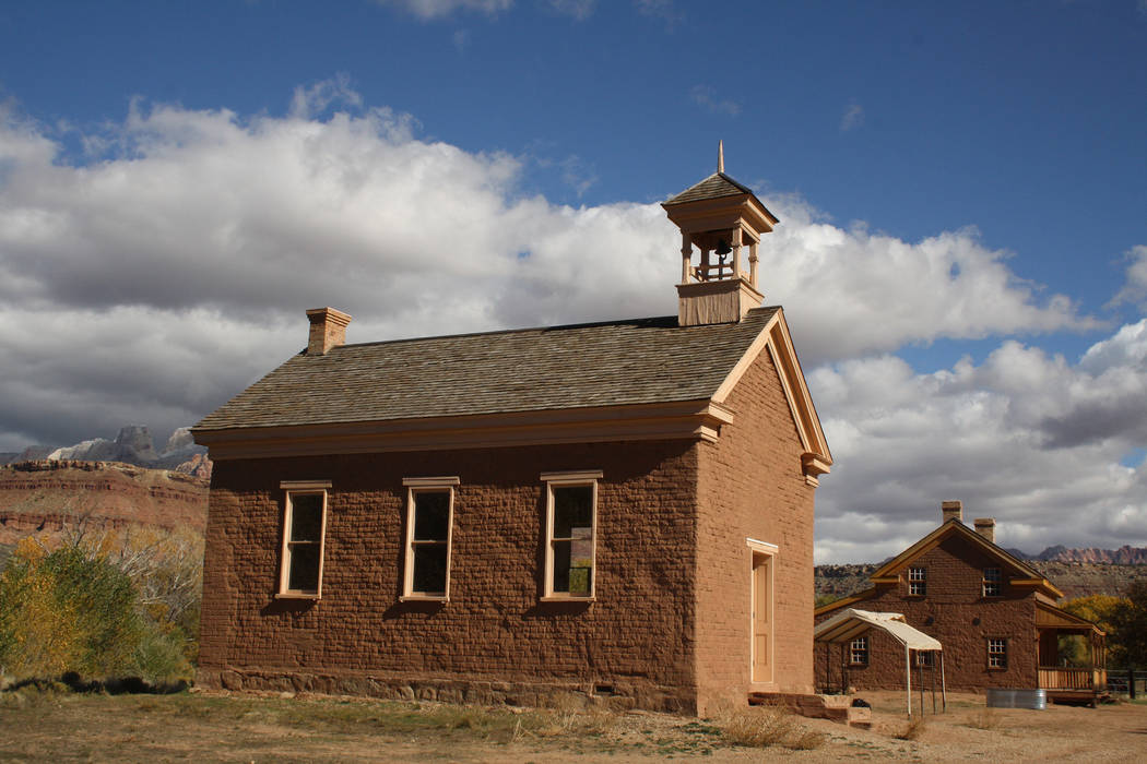 Grafton's schoolhouse/church was built in 1886 of rustic adobe on a foundation of lava rocks. (Deborah Wall/Las Vegas Review-Journal)