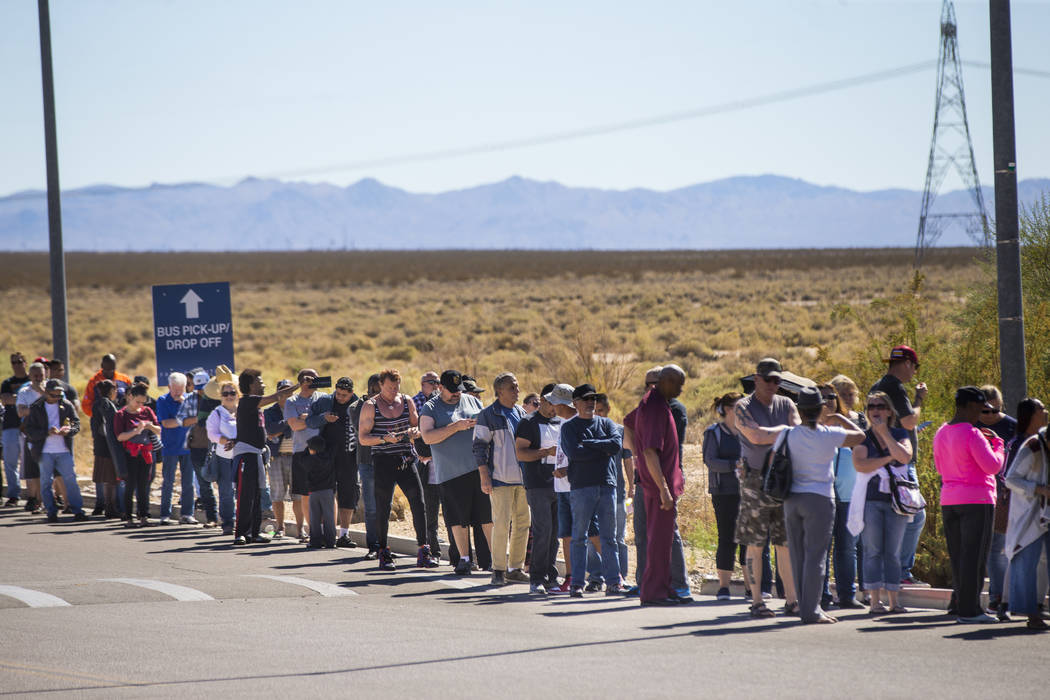 Hundreds line up outside of the Primm Valley Lotto Store as people wait to buy the Mega Millions lottery tickets in Primm on Thursday, Oct. 18, 2018. Chase Stevens Las Vegas Review-Journal @csstev ...