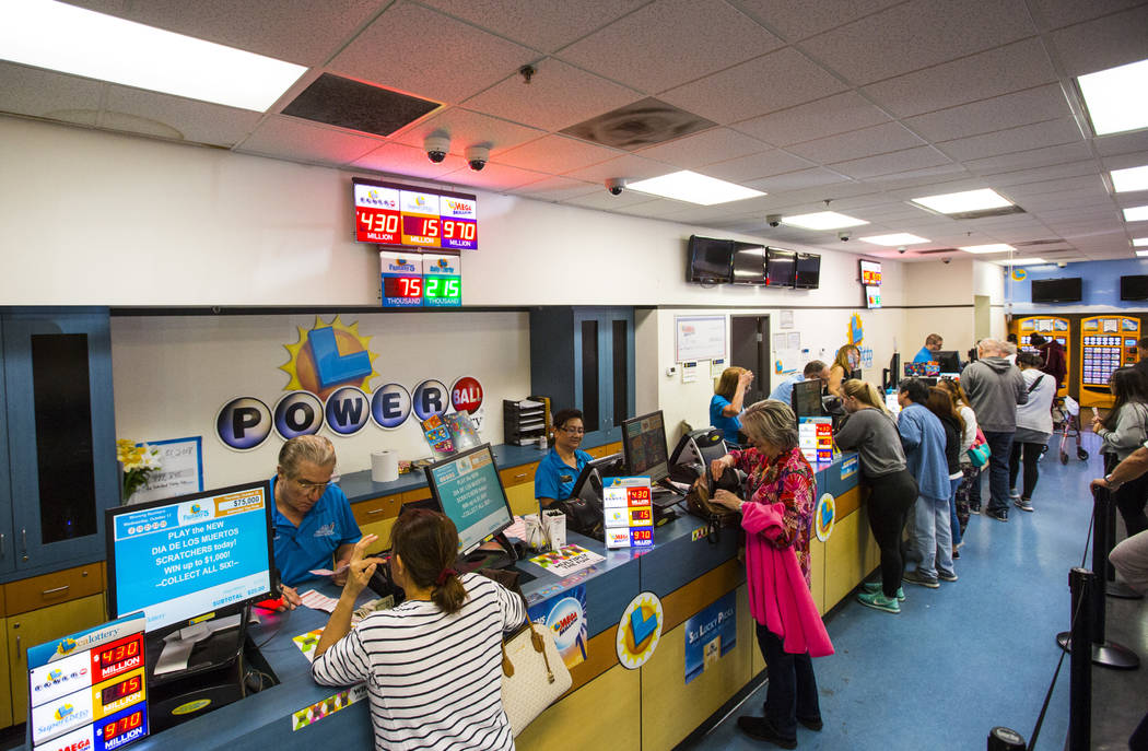 People line up inside of the Primm Valley Lotto Store for Mega Millions lottery tickets in Primm on Thursday, Oct. 18, 2018. Chase Stevens Las Vegas Review-Journal @csstevensphoto