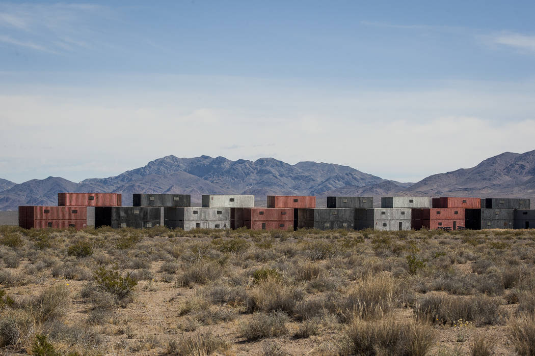 Buildings made from stacked shipping containers await their next exercise at the Nevada Test and Training Range on Sunday, May 21, 2017. Patrick Connolly Las Vegas Review-Journal @PConnPie