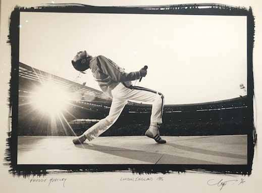 Neal Preston Queen frontman Freddie Mercury at London's Wembley Stadium in 1986, where 70,000 were in attendance.