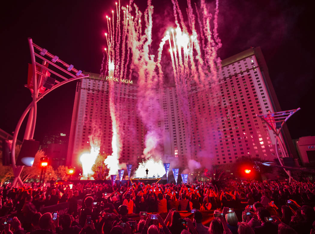 Fireworks go off in front of Park MGM as Britney Spears announces her new residency at The Park Theater at Park MGM on Thursday, Oct. 18, 2018, outside T-Mobile Arena, in Las Vegas. Provided Las V ...