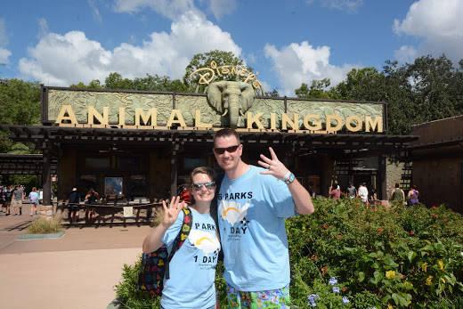 Clark and Heather Ensminger of Kingsport, Tenn., pose at Disney's Animal Kingdom at Walt Disney World Resort in Lake Buena Vista, Fla. (Courtesy Disney Parks)