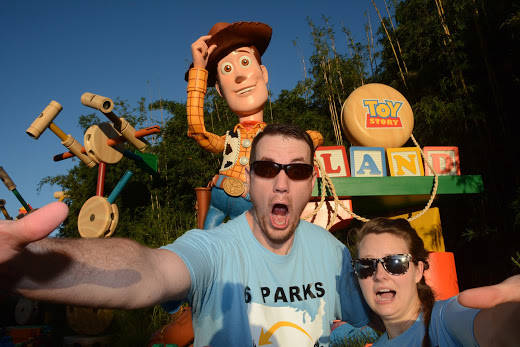 Clark and Heather Ensminger of Kingsport, Tenn., take a selfie in front of the newly opened Toy Story Land at Disney's Hollywood Studios at Walt Disney World Resort in Lake Buena Vista, Fla. On ...