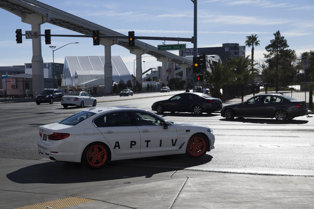An Aptiv and Lyft autonomous vehicle outside takes the road outside of the Las Vegas Convention Center in advance of CES in Las Vegas, Sunday, Jan. 7, 2018. Erik Verduzco/Las Vegas Review-Journal