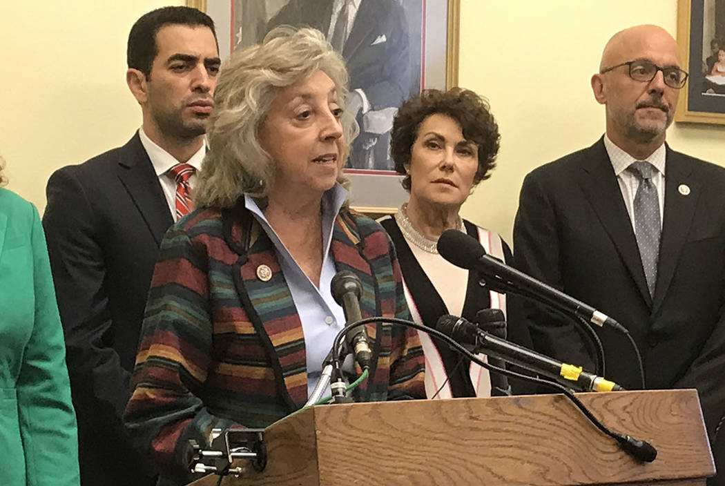 Rep. Dina Titus, D-Nev., unveils legislation to limit high-capacity ammunition clips at a Capitol Hill news conference. With her are several co-sponsors, from left: Rep. Ruben Kihuen, D-Nev., Rep. ...