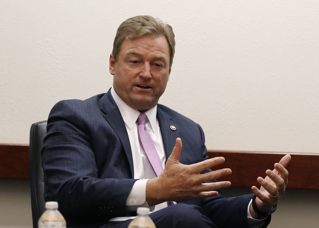 Sen. Dean Heller, R-Nev., speaks with the Las Vegas Review -Journal editorial board on Friday, Oct. 19, 2018, in Las Vegas. Bizuayehu Tesfaye/Las Vegas Review-Journal @bizutesfaye