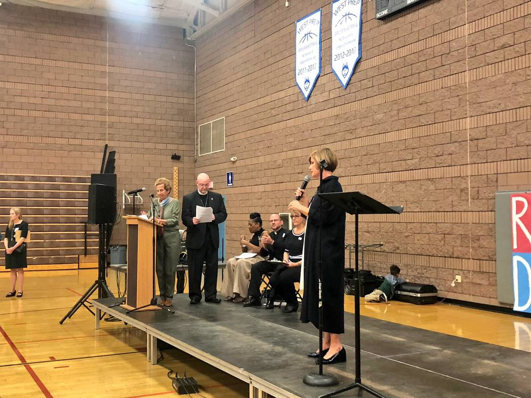 Congressional District 3 candidate Susie Lee speaks at the Nevadans for the Common Good forum at West Prep in Las Vegas on Oct. 18, 2018. (Ramona Giwargis/Las Vegas Review-Journal)