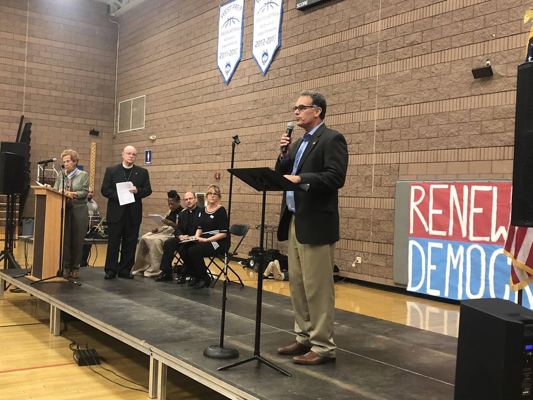 Congressional District 3 candidate Danny Tarkanian speaks at the Nevadans for the Common Good forum at West Prep in Las Vegas on Oct. 18, 2018. (Ramona Giwargis/Las Vegas Review-Journal)