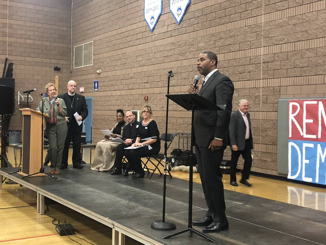 Congressional District 4 candidate Steven Horsford speaks at the Nevadans for the Common Good forum at West Prep in Las Vegas on Oct. 18, 2018. (Ramona Giwargis/Las Vegas Review-Journal)