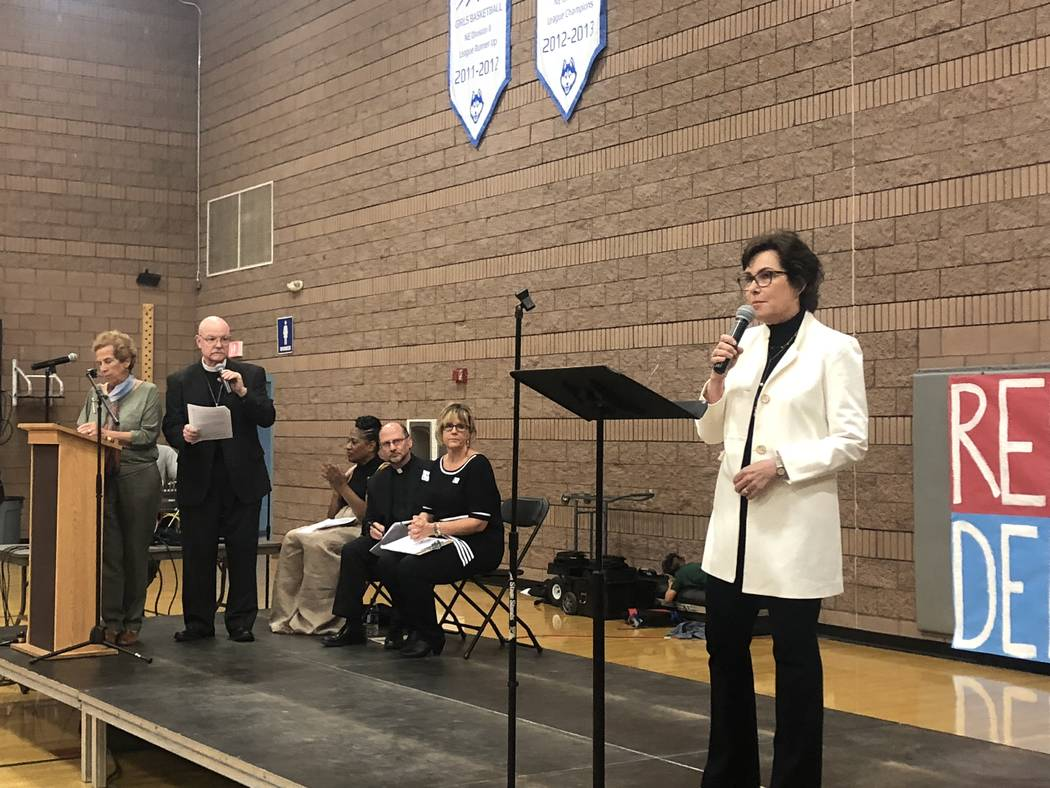 Rep. Jacky Rosen speaks at the Nevadans for the Common Good forum at West Prep in Las Vegas on Oct. 18, 2018. (Ramona Giwargis/Las Vegas Review-Journal)