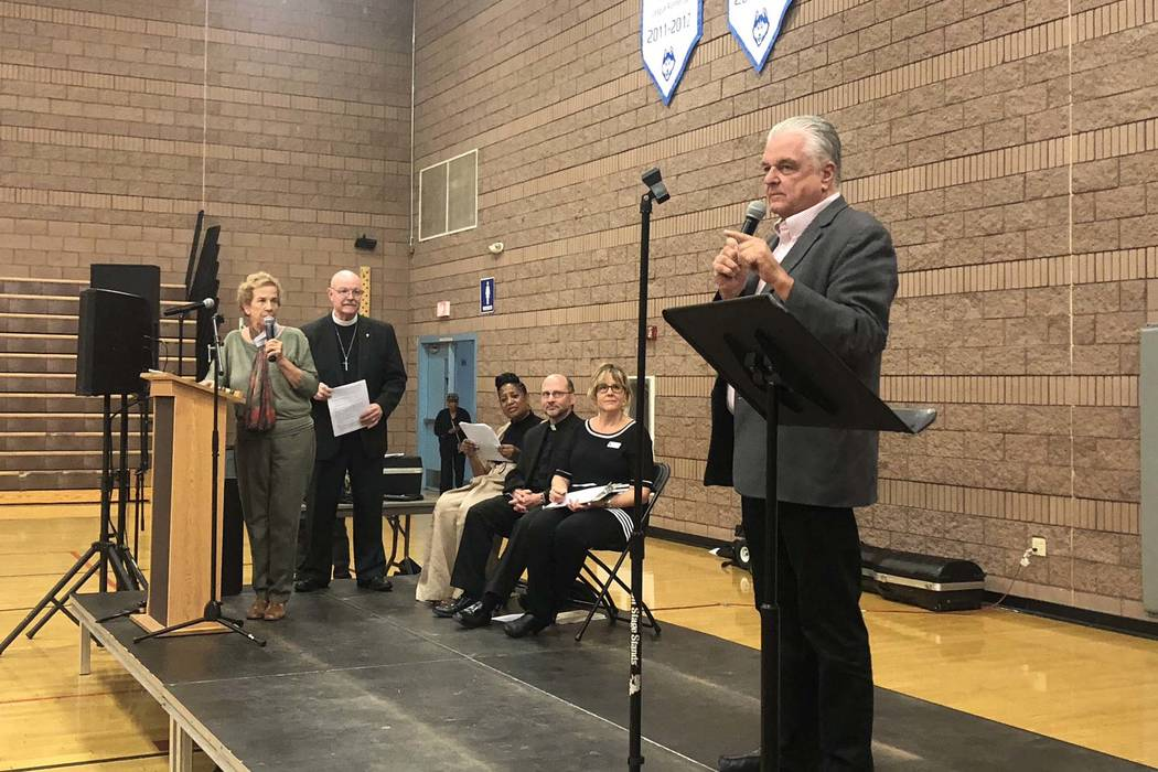 Governor candidate Steve Sisolak speaks at the Nevadans for the Common Good forum at West Prep in Las Vegas on Oct. 18, 2018. (Ramona Giwargis/Las Vegas Review-Journal)