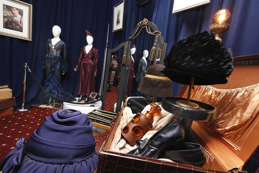 """A day collaborating with costume designer Colleen Atwood on a one-of-a-kind outfit inspired by """"Fantastic Beasts: The Crimes of Grindelwald,"""" priced at $300,000, is displayed during a preview of t ..."""