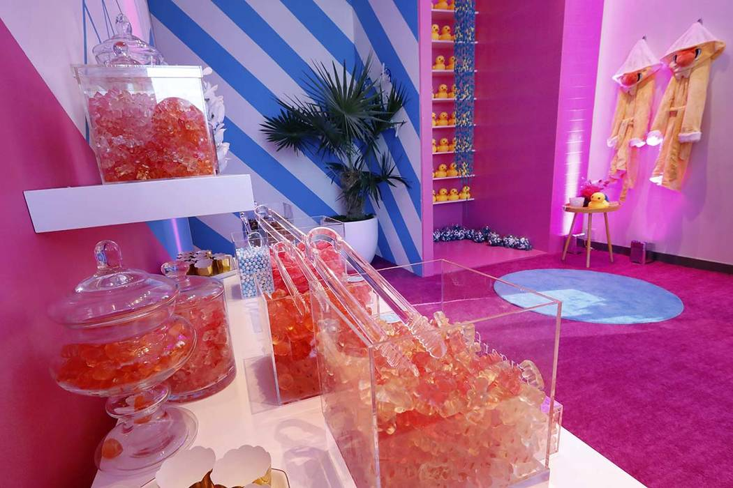 A display of Sugarfina is displayed during a preview of the Neiman Marcus Christmas Book in New York, Thursday, Oct. 18, 2018. For $325,000, Sugarfina will set up a custom candy bar and ship off f ...