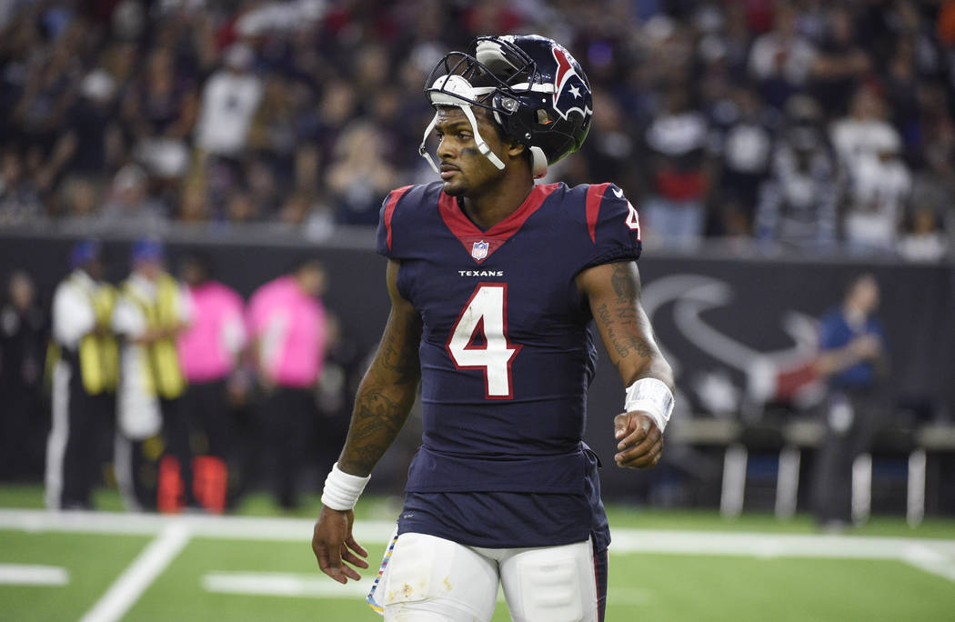 Houston Texans quarterback Deshaun Watson (4) walks off of the field after failing to score a touchdown against the Dallas Cowboys during the second half of an NFL football game, Sunday, Oct. 7, 2 ...